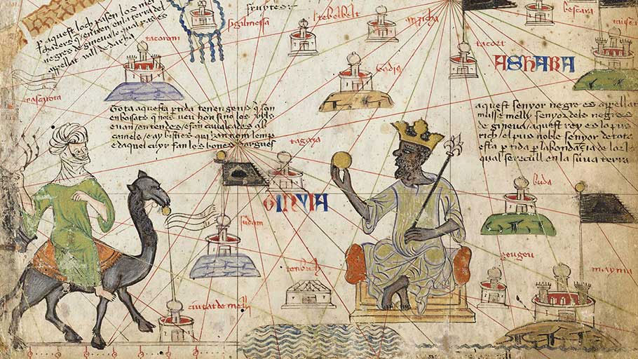 Mansa Musa, the king of Mali, on a map from The Catalan Atlas